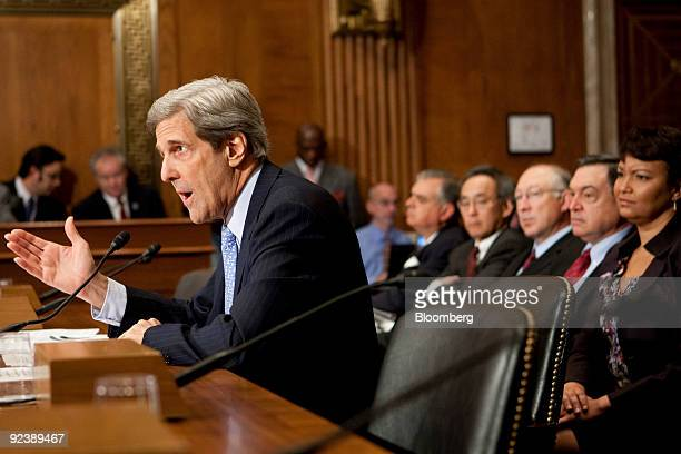 Senator John Kerry, a Democrat from Massachusetts, testifies at a hearing of the Senate Environment and Public Works Committee on global climate...
