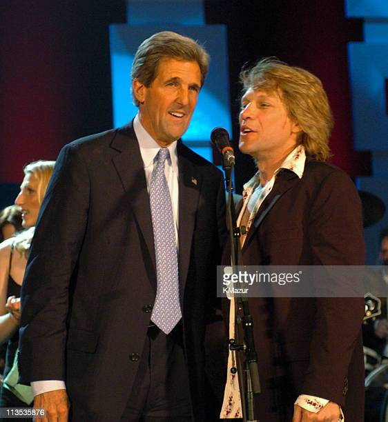 Senator John Kerry and Jon Bon Jovi onstage at Radio City Music Hall in New York City for A Change Is Going To Come The Concert for John Kerry on...