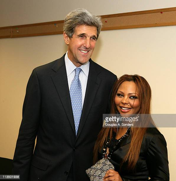 """Senator John Kerry and Lil Kim during """"Children Uniting Nations Second Annual National Conference"""" at Woodrow Wilson International Center for..."""