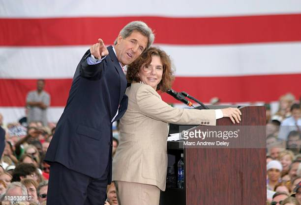 Senator John Kerry and Senator John Edwards kick off their campaign tour in Cleveland Ohio on July 7 2004 Kerry tapped Edwards to be his running mate...