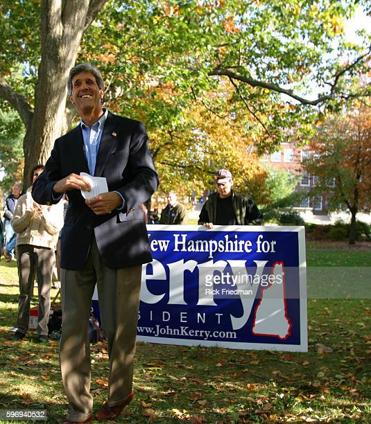 Senator John Kerry campaigns at the University of New Hampshire in Durham while in New Hampshire