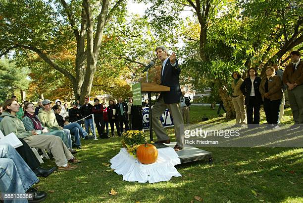 Senator John Kerry delivers a speech on the environment at the University of New Hampshire in Durham while campaigning in New Hampshire