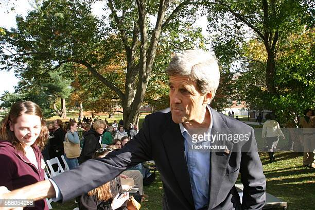 Senator John Kerry greets supporters after delivering a speech on the environment at the University of New Hampshire while campaigning in New...
