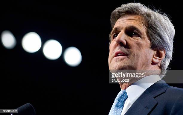 US Senator John Kerry speaks at the American Israel Public Affairs Committee�s annual policy conference at the Walter E Washington Convention Center...