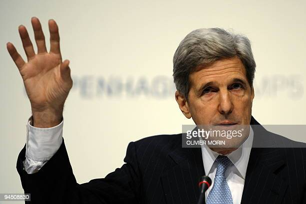 US Senator John Kerry speaks during a press conference at the Bella center in Copenhagen on December 16 2009 on the 10th day of the COP15 UN Climate...