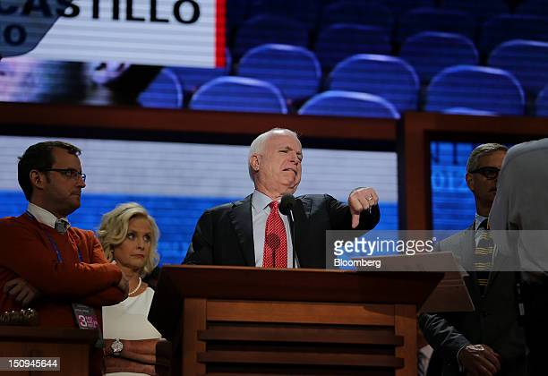 Senator John McCain a Republican from Arizona gestures during a sound check at the Republican National Convention in Tampa Florida US on Wednesday...