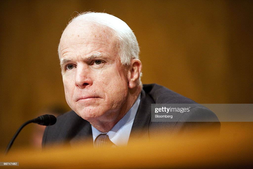 Senator John McCain, a Republican from Arizona, listens to testimony at a Senate Homeland Security hearing about the Gulf Coast disaster and the nation's response to the Deepwater Horizon oil spill, in Washington, D.C., U.S., on Monday, May 17, 2010. BP America Inc. Chairman Lamar McKay said Transocean Ltd., owner of the Gulf of Mexico drilling rig that exploded and sank in April, was responsible for the safe operation of the equipment. Photographer: Joshua Roberts/Bloomberg via Getty Images