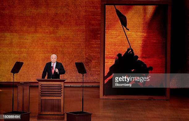 Senator John McCain a Republican from Arizona speaks at the Republican National Convention in Tampa Florida US on Wednesday Aug 29 2012...