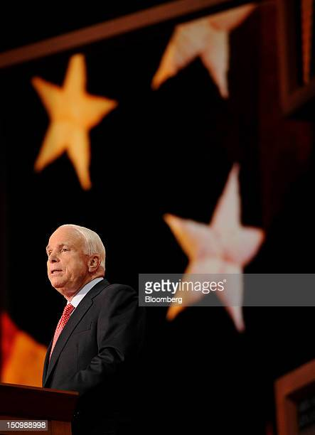 Senator John McCain, a Republican from Arizona, speaks at the Republican National Convention in Tampa, Florida, U.S., on Wednesday, Aug. 29, 2012....