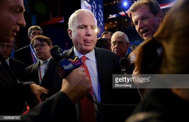 Senator John McCain a Republican from Arizona speaks to the media after a sound check at the Republican National Convention in Tampa Florida US on...