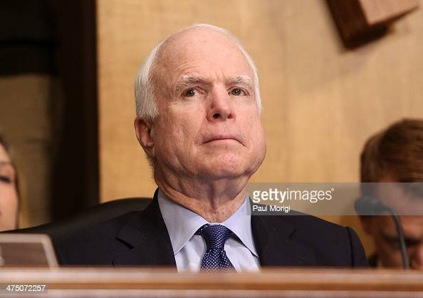 Senator John McCain attends the US Senate Hearing On The Democratic Republic Of Congo at Dirksen Senate Office Building on February 26 2014 in...