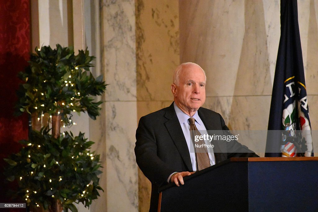 Senator John McCain (R-AZ), Chairman of the Senate Armed Services Committee, speaking at a Senate briefing at the Kennedy Caucus Room, titled The New Administration and Iran Policy Options. The Arizona Republican said the nuclear deal was very deficient and that the Iranian regime must be held to account for its malign activities in the region, its crackdown on its own citizens and its defiance of Security Council resolutions related to a ban on ballistic missile testing. The briefing was organized by the Organization of Iranian American Communities in the U.S.