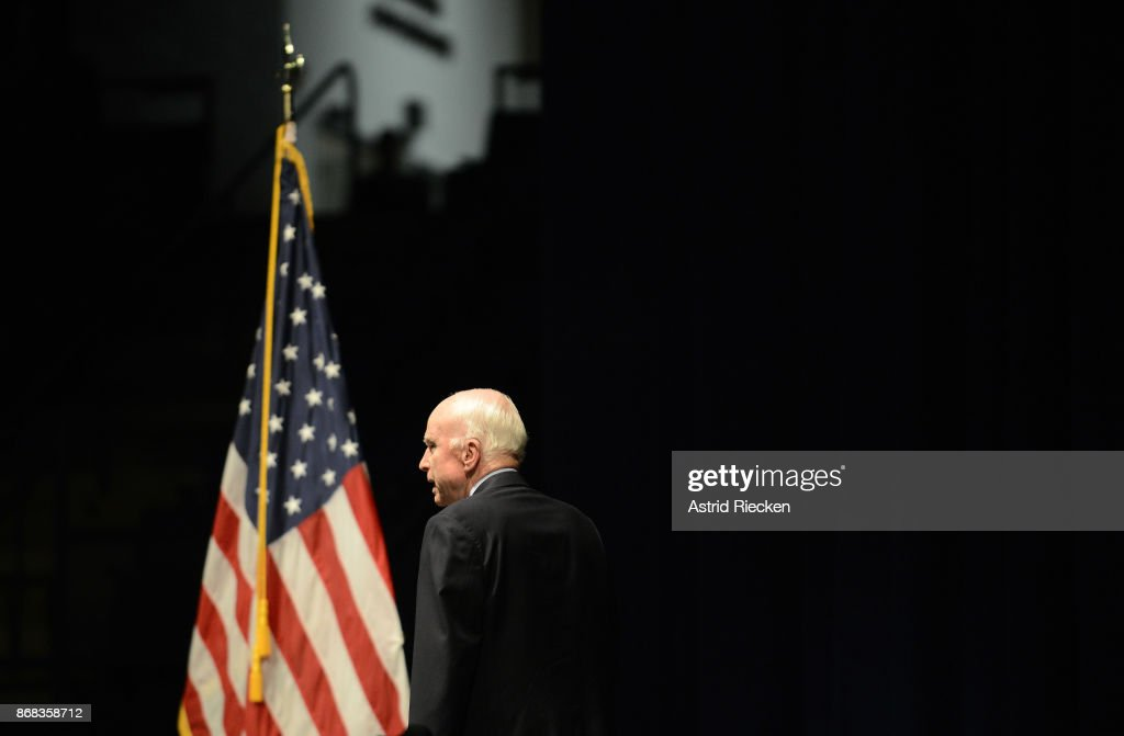U.S. Senator John McCain (R-AZ), Chairman of the Senate Armed Services Committee, arrives to address the Brigade of Midshipmen at the United States Naval Academy on October 30, 2017 in Annapolis, Maryland. A Class of 1958 Naval Academy graduate, Senator McCain spoke about the importance of American leadership and service to one's country.
