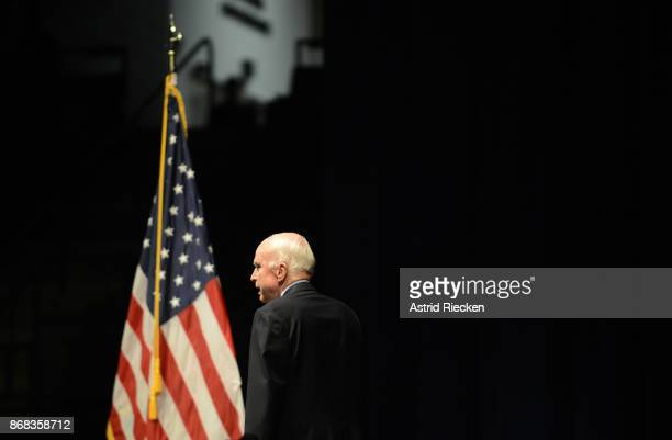 S Senator John McCain Chairman of the Senate Armed Services Committee arrives to address the Brigade of Midshipmen at the United States Naval Academy...