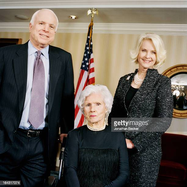 Senator John McCain his mother Roberta McCain and wife Cindy Hensley McCain are photographed for Town Country Magazine at Roberta McCain's 100th...