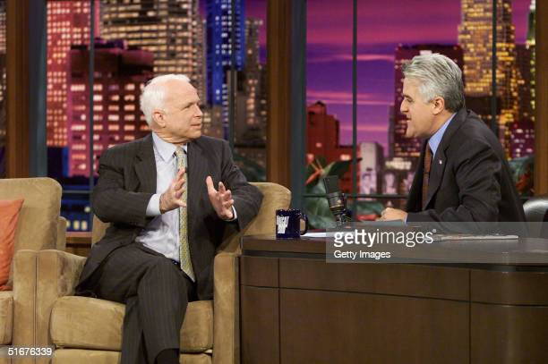S Senator John McCain makes a guest appearance on 'The Tonight Show with Jay Leno' November 4 2004 in Burbank California The senator discussed his...