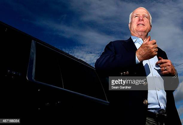 S Senator John McCain prepares to greet supporters during a Veterans rally for US Sen candidate and US Rep Bill Cassidy at the American Legion Post...