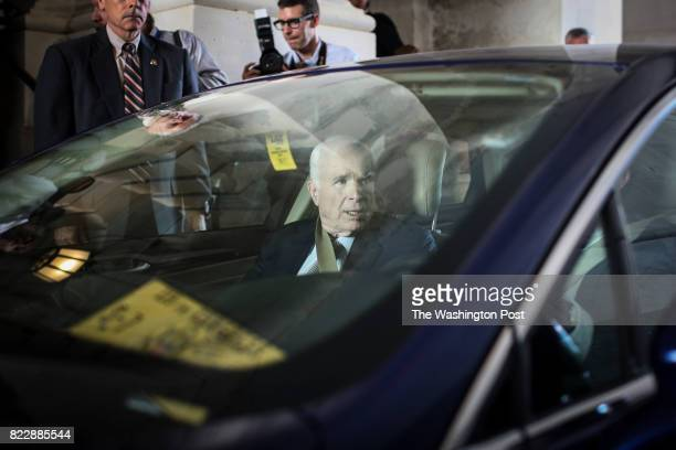 Senator John McCain RAZ departs after returning to the Senate to vote on health care legislation on Capitol Hill in Washington DC on July 25 2017