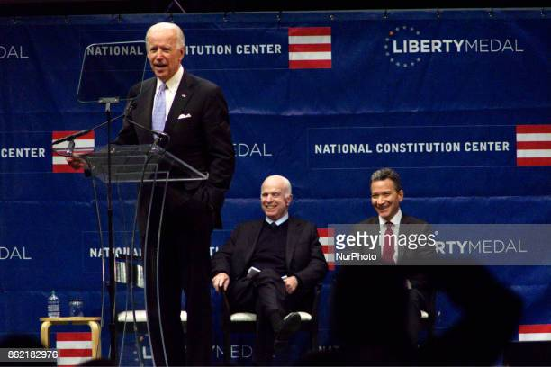 Senator John McCain receives the 2017 Liberty Medal out of hands of former VP Joe Biden, during October 16, 2017 a ceremony at the Constitution...