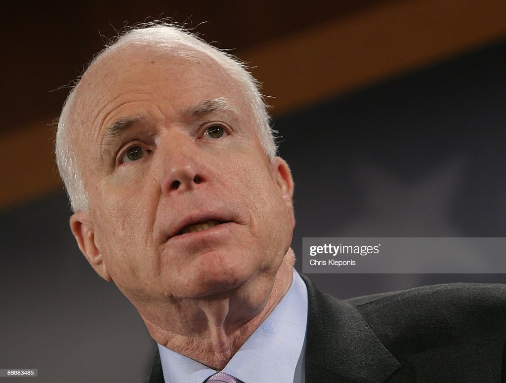 US Senator John McCain (R-AZ) speaks during a news briefing June 25, 2009 on Capitol Hill in Washington, DC. McCain has proposed legislation to assist the people of Iran in promoting democracy. He said he would like to increase US-backed radio broadcasts into Iran.