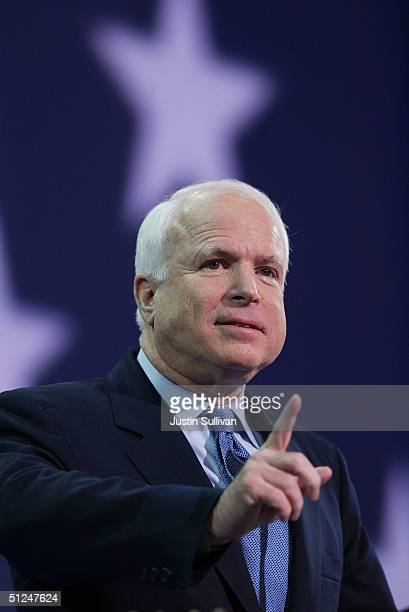 Senator John McCain speaks during the evening session of day one of the 2004 Republican National Convention August 30 2004 at Madison Square Garden...