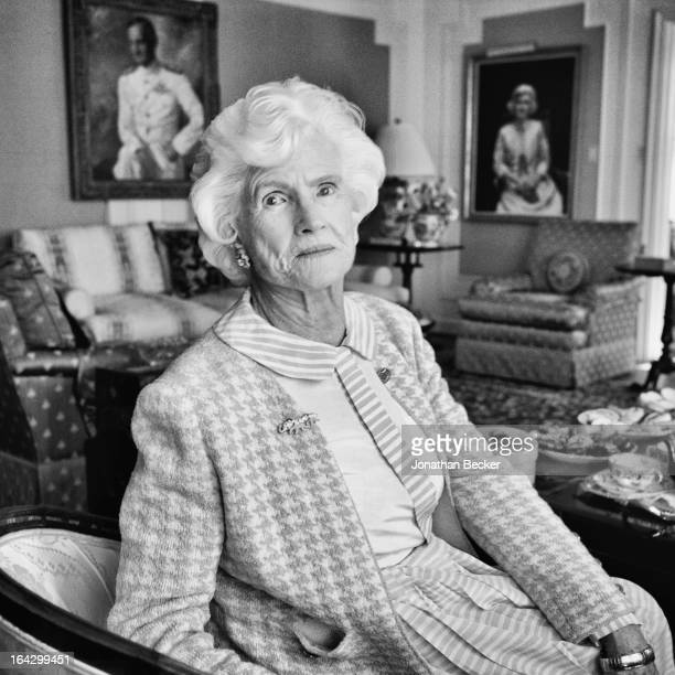 Senator John McCain's mother, Roberta McCain is photographed in her living room for Town & Country Magazine on October 5, 2009 in Washington, DC....