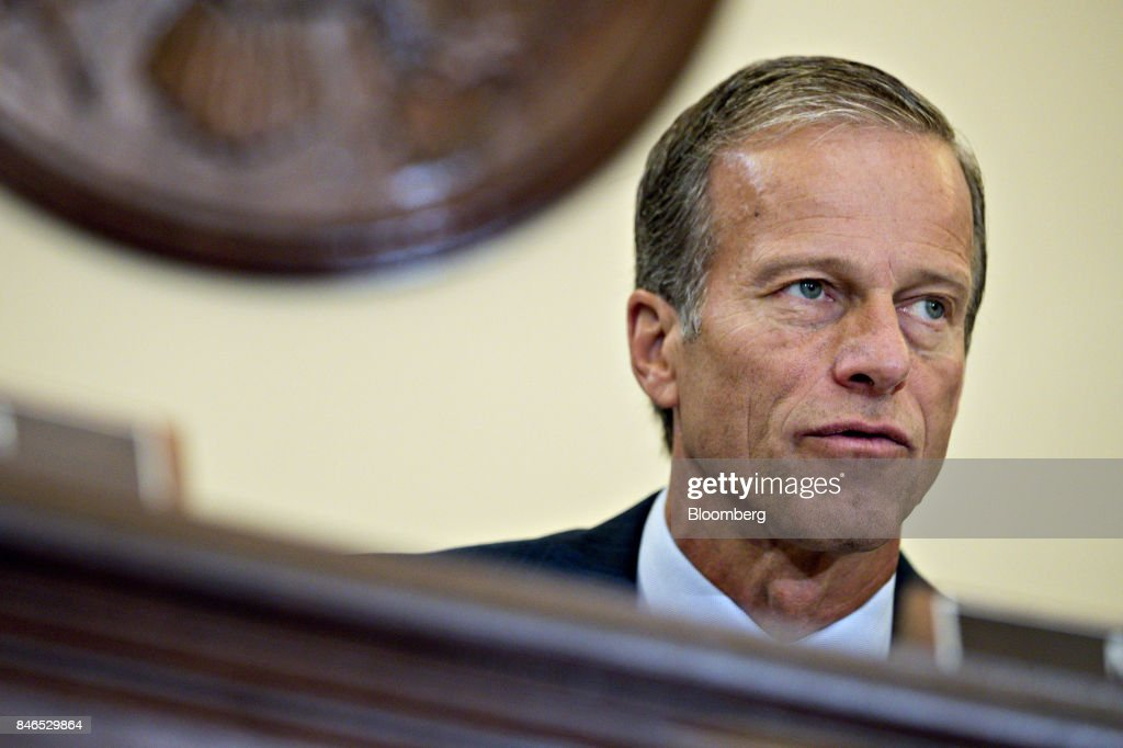 Senator John Thune, a Republican from South Dakota and chairman of the Senate Commerce, Science, and Transportation Committee, makes an opening statement during a hearing in Washington, D.C., U.S., on Wednesday, Sept. 13, 2017. The hearing is titled, Transportation Innovation: Automated Trucks and our Nation's Highways. Photographer: Andrew Harrer/Bloomberg via Getty Images