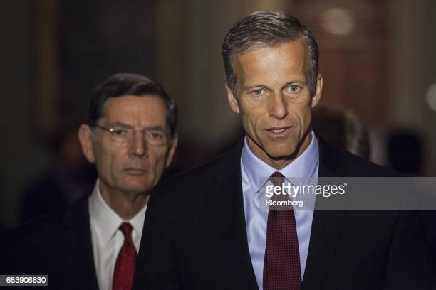 Senator John Thune a Republican from South Dakota speaks during a news conference following a Senate Republican luncheon in Washington DC US on...