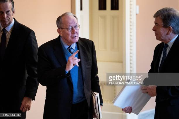 Senator John Thune Senator Lamar Alexander and Senator Roy Blunt during the impeachment trial of US President Donald Trump on Capitol Hill January 28...