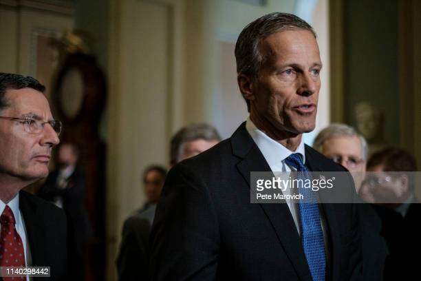 Senator John Thune speaks to the media following their weekly policy luncheon on April 30, 2019 in Washington, DC. Congress is back in session this...
