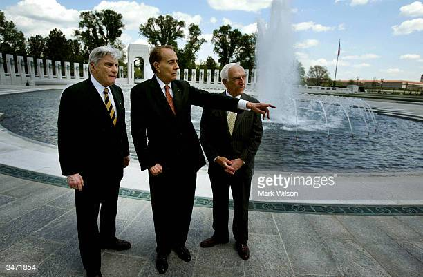 Senator John Warner , former Senator Bob Dole and Senator Frank Lautenberg visit the new World War II Memorial April 27, 2004 in Washington, DC. The...