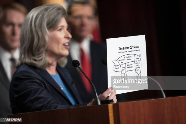 Senator Joni Ernst, a Republican from Iowa, holds a visual aid during a news conference on raising the debt ceiling at the U.S. Capitol in...