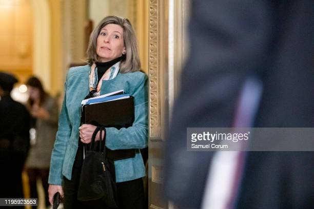 Senator Joni Ernst leaves the Senate floor after the Senate impeachment trial of President Donald Trump was adjourned for the day on January 24, 2020...