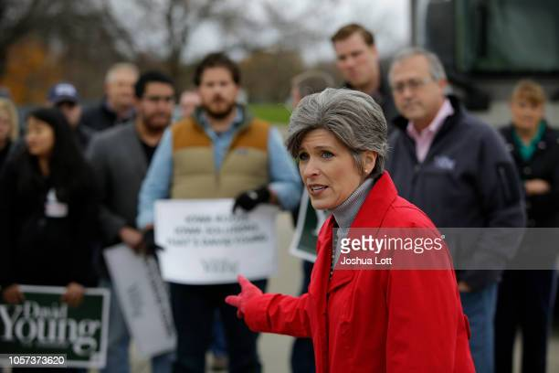 S Senator Joni Ernst seeks about Incumbent Republican candidate for Iowa's 3rd Congressional District David Young during his Victory Express Tour...