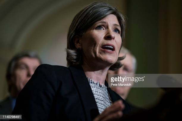Senator Joni Ernst speaks to the media following their weekly policy luncheon on April 30, 2019 in Washington, DC. Congress is back in session this...