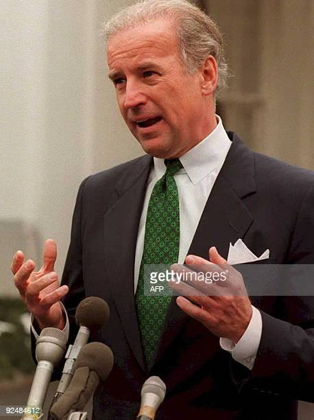 US Senator Joseph Biden DDe speaks to the press after meeting with US President Bill Clinton at the White House10 February to discuss Dr Henry...