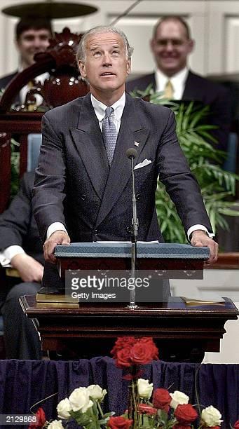 Senator Joseph Biden Jr eulogizes former US Senator Strom Thurmond during Thurmond's funeral service at First Baptist Church July 1 2003 in Columbia...