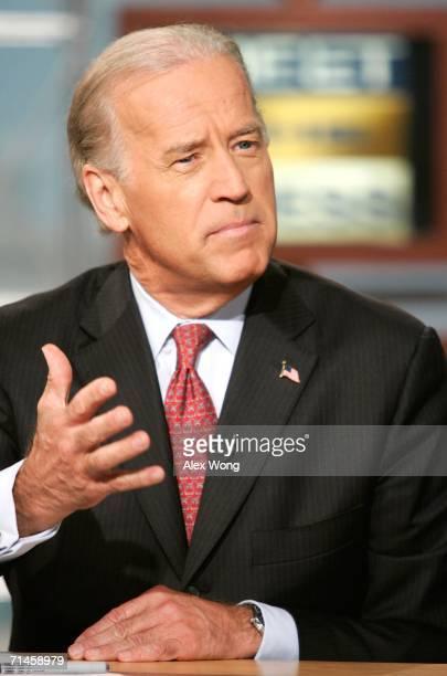 "Senator Joseph Biden speaks during a taping of ""Meet the Press"" at the NBC studios July 16, 2006 in Washington, DC. Biden spoke on various topics..."