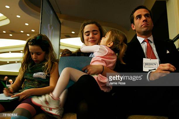 Senator Joseph Biden's family grandchildren Finnegan Naomi Natalie and son Beau sit in the front row at the Democratic National Committee winter...