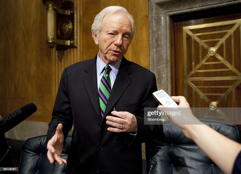Senator Joseph Lieberman, an independent from Connecticut, speaks to the media after a Senate Homeland Security Committee hearing about the Gulf Coast disaster and the nation's response to the Deepwater Horizon oil spill, in Washington, D.C., U.S., on Monday, May 17, 2010. BP Plc and drillers operating in deep water are unprepared to deal with leaks like the well gushing at least 5,000 barrels of oil a day in the Gulf of Mexico, Lieberman said. Photographer: Joshua Roberts/Bloomberg via Getty Images