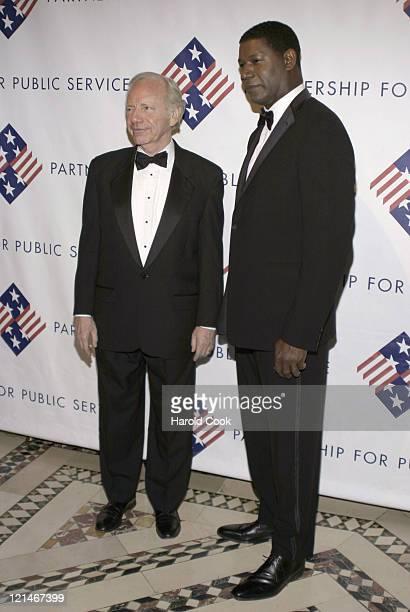 Senator Joseph Lieberman and Dennis Haysbert during The Partership for Public Service Gala December 11 2006 at Cipriani in New York City New York...