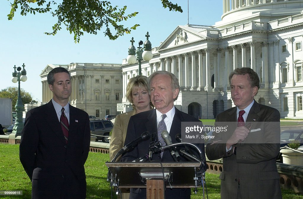 Senator Joseph Lieberman (D-CT) speaks at a press conference of his concern for a new Homeland Security Department, along with supporters Rep. Mac Thornberry (R-TX), Rep. Ellen O. Tauscher (D-CA) and Senator Arlen Specter (R-PA). 