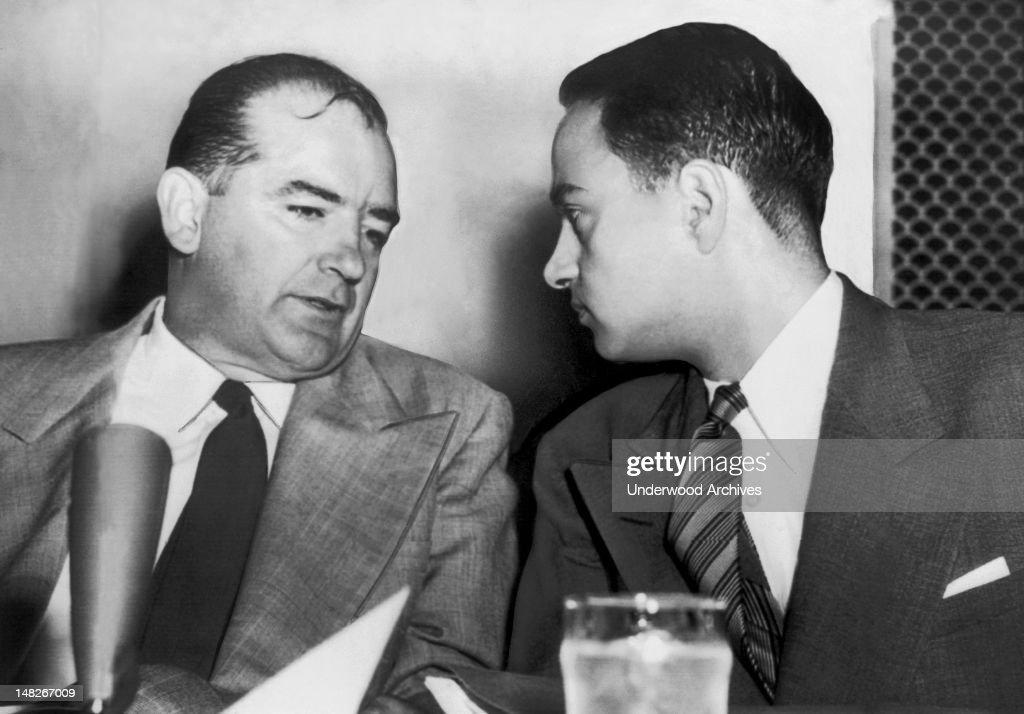Senator McCarthy And Roy Cohn : News Photo