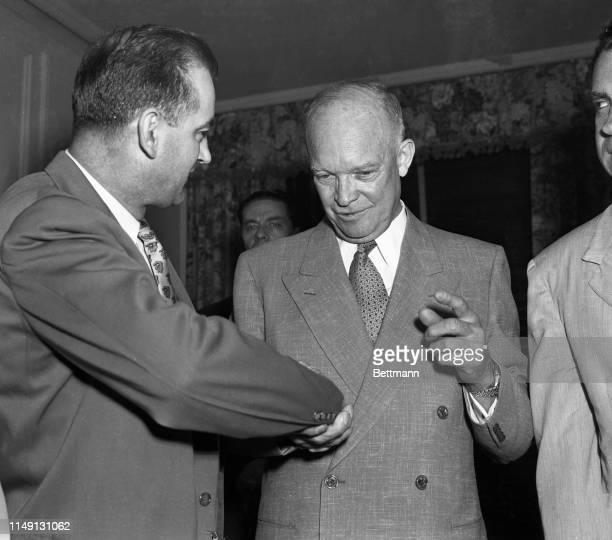 Senator Joseph McCarthy congratulates Dwight Eisenhower after his nomination at the Republican Convention.