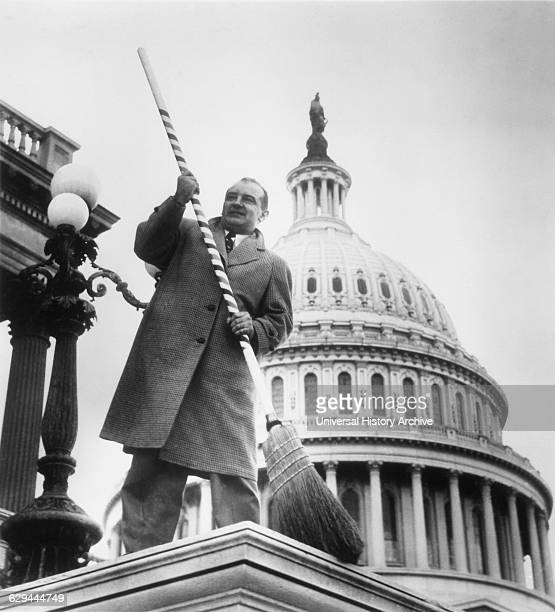 US Senator Joseph McCarthy in front of US Capitol Washington DC Poised to Sweep Communists out of Government 1954