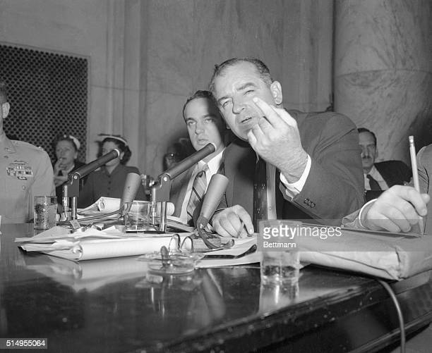 Senator Joseph McCarthy is shown here as he made one of his most impassioned oratorical outbursts at the opening of the May 6th, afternoon session of...