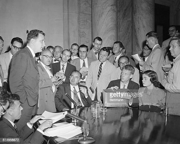Senator Joseph McCarthy , is surrounded by newsmen in Washington on September 1st, as he holds a press conference while the Special Senate Committee...