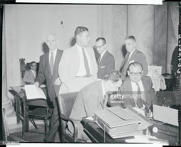 Senator Joseph McCarthy of Wisconsin and his attorney, Edward B. Williams, at the special Senate committee weighing censure charges against the...