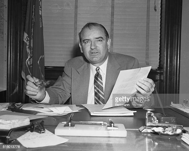 """Senator Joseph McCarthy, , Wisconsin is shown as he charged that three of the six Senators who investigated censure charges against him committed """"a..."""