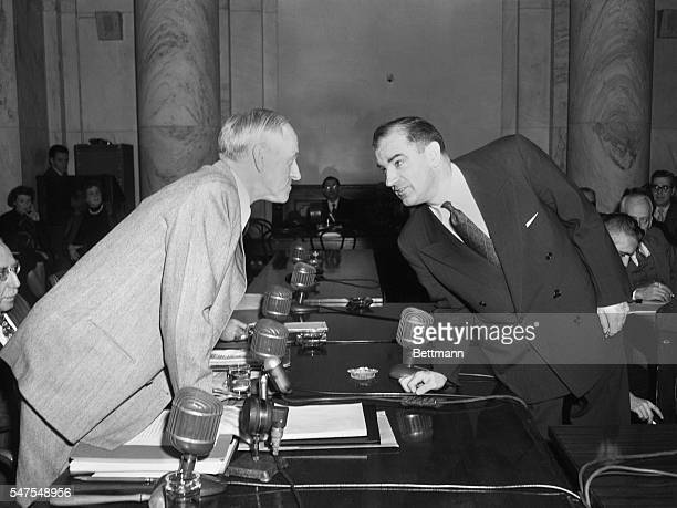 Senator Joseph McCarthy Wisconsin shown during preliminary sparring with Chairman Millard Tydings of Maryland of a Senate Foreign Relations...